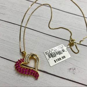 Ruby and Diamond Pendant necklace NWT